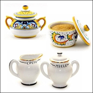 deruta sugar bowl and creamer