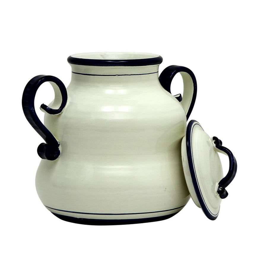 BIANCO MARINA: Round Biscotti Jar with two handles