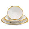 AUSONIA BORDO ORO: White with Gold rim Three pieces set Dinner Plate and Pasta Bowl and Cereal Salad Bowl