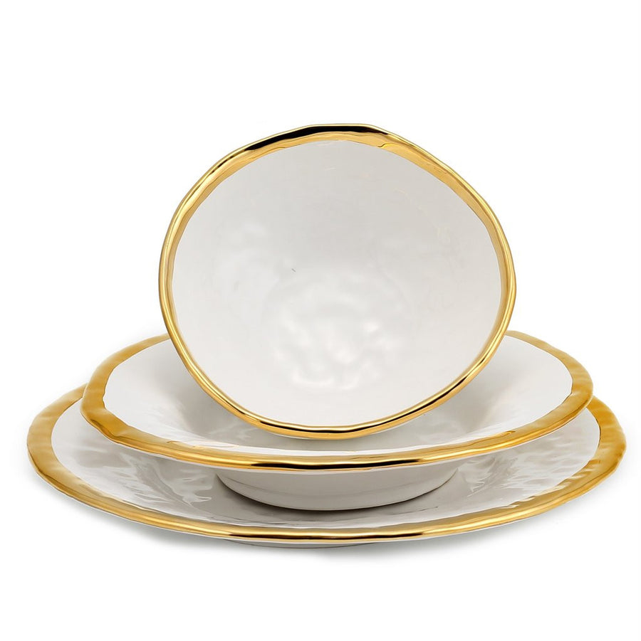 AUSONIA BORDO ORO: White with Gold rim Three pieces set Dinner Plate + Pasta Bowl + Cereal Salad Bowl