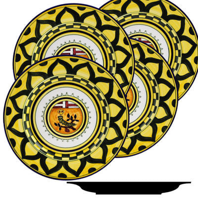 PALIO DI SIENA: BRUCO (Caterpillar) Dinner Plate SET of four (11D)