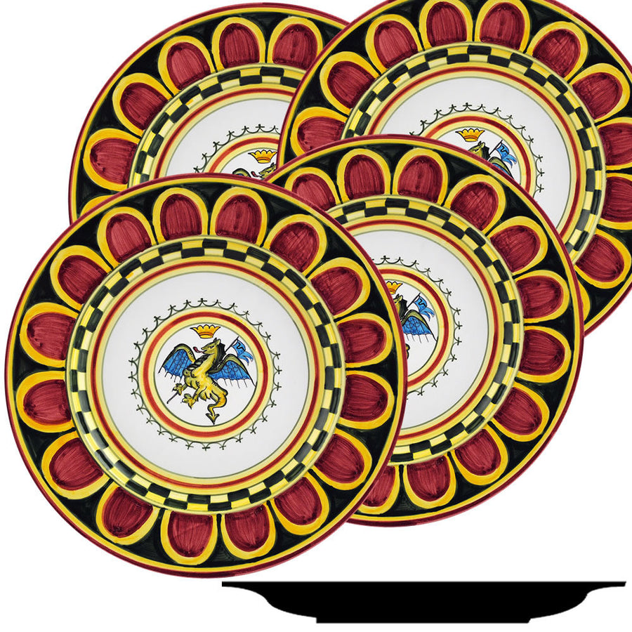 PALIO DI SIENA: DRAGO (Dragon) Dinner Plate SET of four (11D)