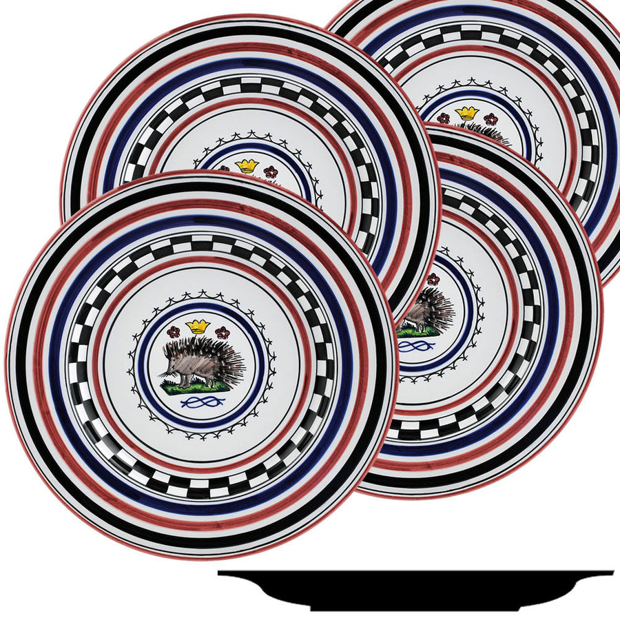 PALIO DI SIENA: ISTRICE (Porcupine) Dinner Plate SET of four (11D)