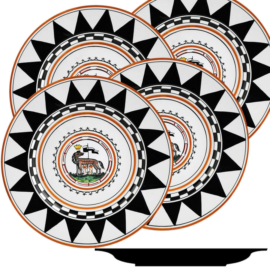 PALIO DI SIENA: LUPA (She Wolf) Dinner Plate SET of four (11D)