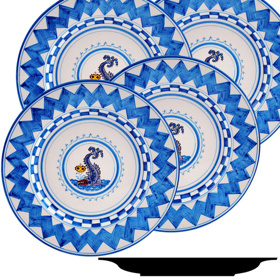 PALIO DI SIENA: ONDA (Wave Dolphin) Dinner Plate SET of four (11D)