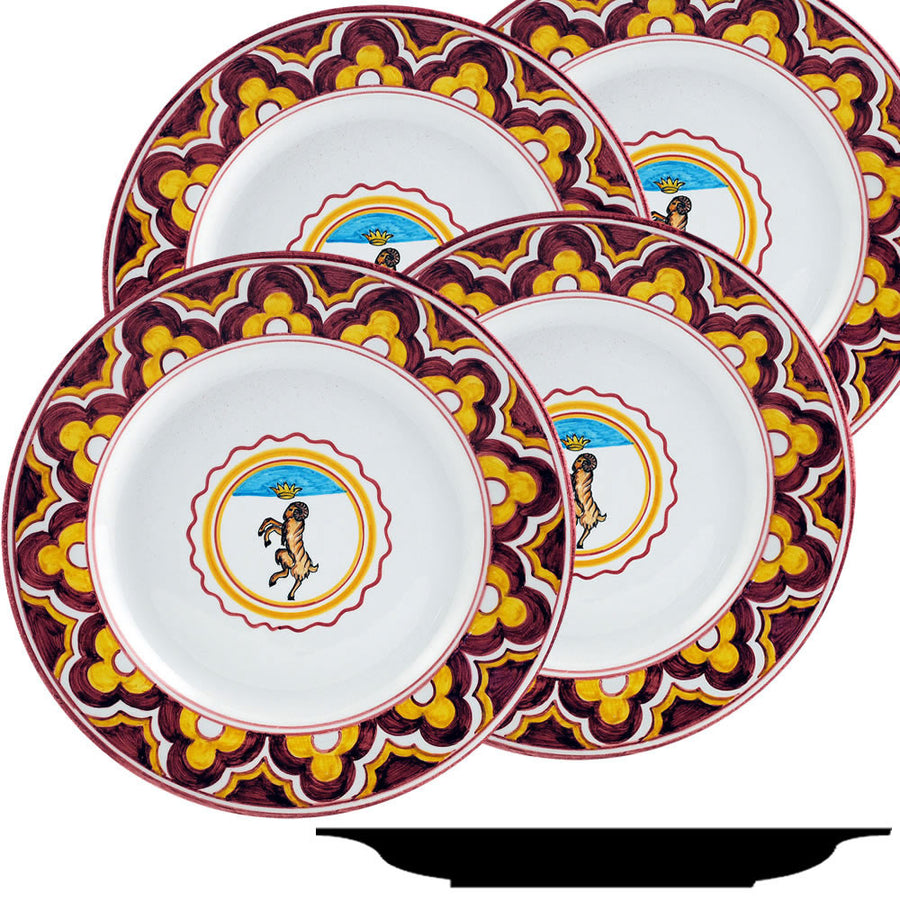 PALIO DI SIENA: VALDIMONTONE (Valley of the Ram) Dinner Plate SET of four (11D)