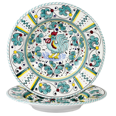 ORVIETO GREEN ROOSTER: Pasta Soup bowl (10 D)