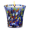 ITALIAN GLASS: Murano Style Flared Candle Blue Mix
