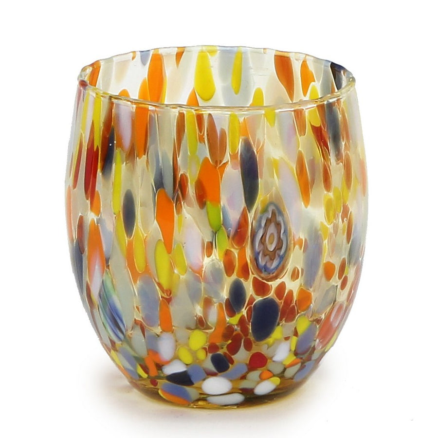 MURANO MURRINA STYLE: Stemless Wine/Water Glass fully hand made (Amber Mix)
