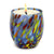 ITALIAN GLASS: Murano Style Crumpled Candle Blue Mix