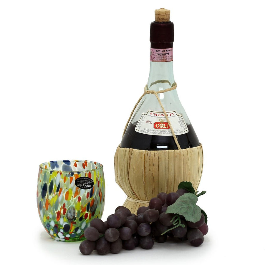 MURANO MURRINA STYLE: Stemless Wine/Water Glass fully hand made (Green Mix)