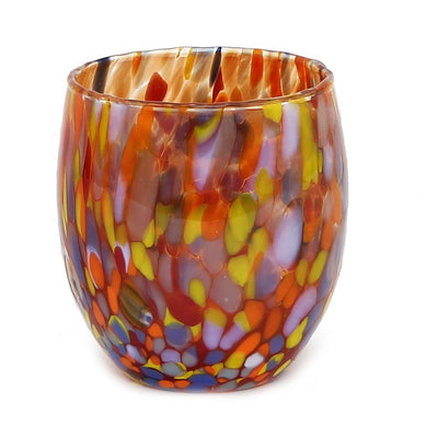 MURANO MURRINA STYLE: Stemless Wine/Water Glass fully hand made (Red Mix)