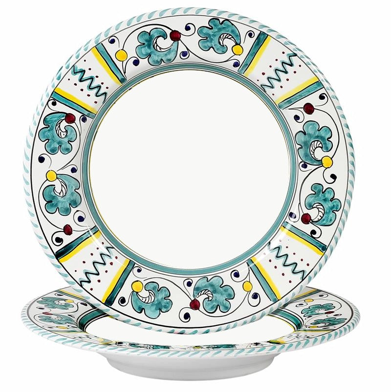 ORVIETO GREEN ROOSTER: Pasta/Soup Rim Plate (White Center)