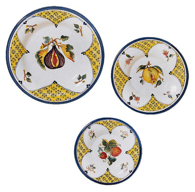 TOSCANA: Fruit wall plates Fig, Pomegranate, Strawberry (Set of Three)