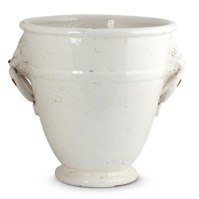 SCAVO GEMMA: Round Xtra Large Planter Cachepot with Tuscan Lion Heads and Rings