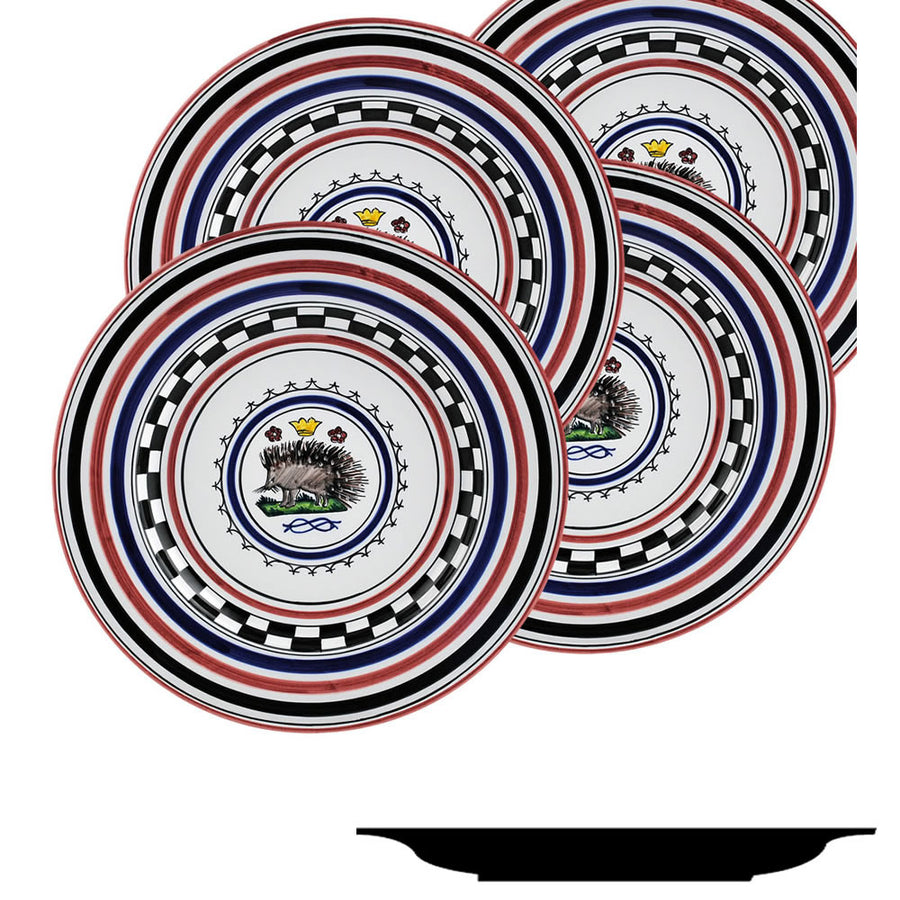 PALIO DI SIENA: ISTRICE (Porcupine) Salad Plate SET of four (85D)