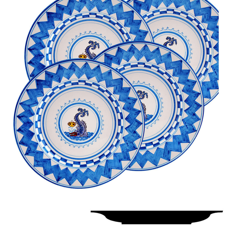 PALIO DI SIENA: ONDA (Wave Dolphin) Salad Plate SET of four (85D)