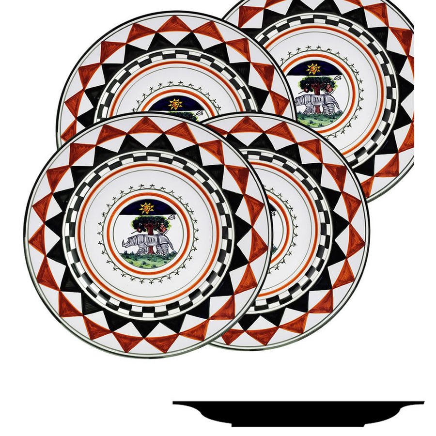 PALIO DI SIENA: SELVA (Forest Rhino) Salad Plate SET of four (85D)