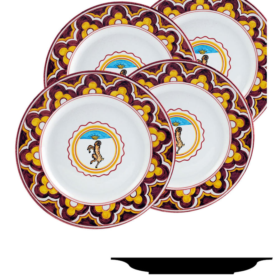 PALIO DI SIENA: VALDIMONTONE (Valley of the Ram) Salad Plate SET of four (85D)