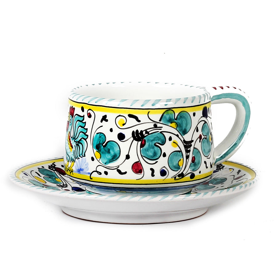 ORVIETO GREEN ROOSTER: Tea/Coffee Cup and Saucer [R]
