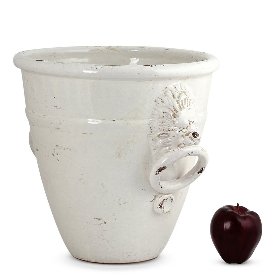 SCAVO GEMMA: Round Medium Planter Cachepot with Tuscan Lion Heads and Rings