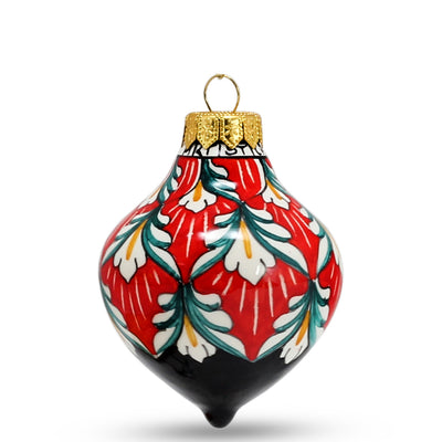 CHRISTMAS ORNAMENT: Drop Ball Hand Painted in Deruta Vario design (Small)