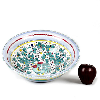 ORVIETO GREEN ROOSTER: Large Serving Salad Pasta bowl