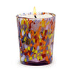 ITALIAN GLASS: Murano Style Crumpled Candle Amber Mix