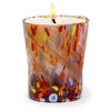 ITALIAN GLASS: Murano Style Crumpled Candle Red Mix