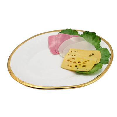 AUSONIA BORDO ORO: Oval Platter White with Gold rim