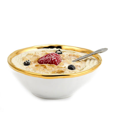 AUSONIA BORDO ORO: Cereal Salad Bowl White with Gold rim