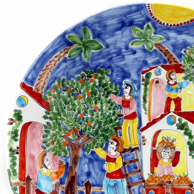 LA MUSA: Large Round Wall Plate Mercato Fichi D'India (Cactus Figs) (25D)