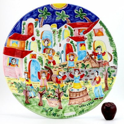 LA MUSA: Large Round Wall Plate Sicilian Grape Harvest (25D)