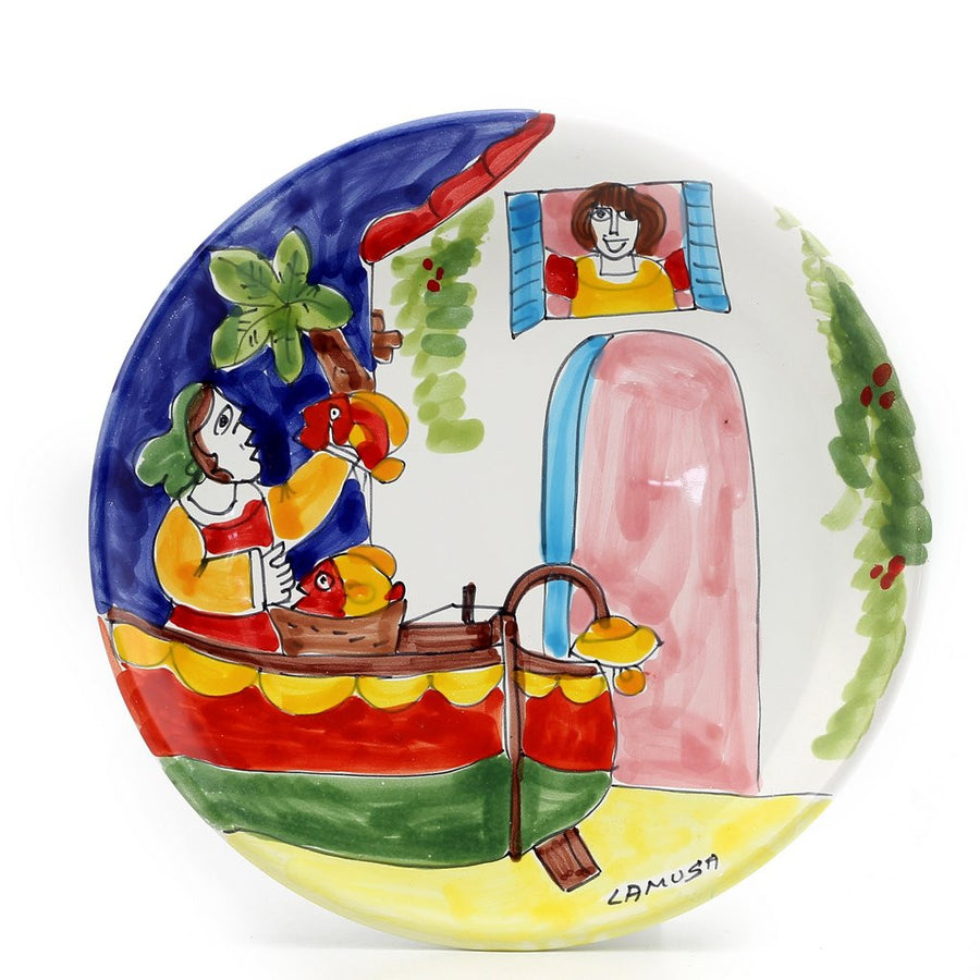 LA MUSA: Small Wall Plate Porticciolo Harbor Fisherman Boat (10D)