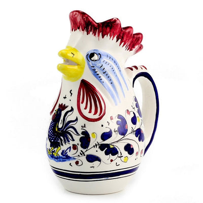 ORVIETO BLUE: Rooster of Fortune Pitcher (1 Liter 34 Oz 1 Qt)