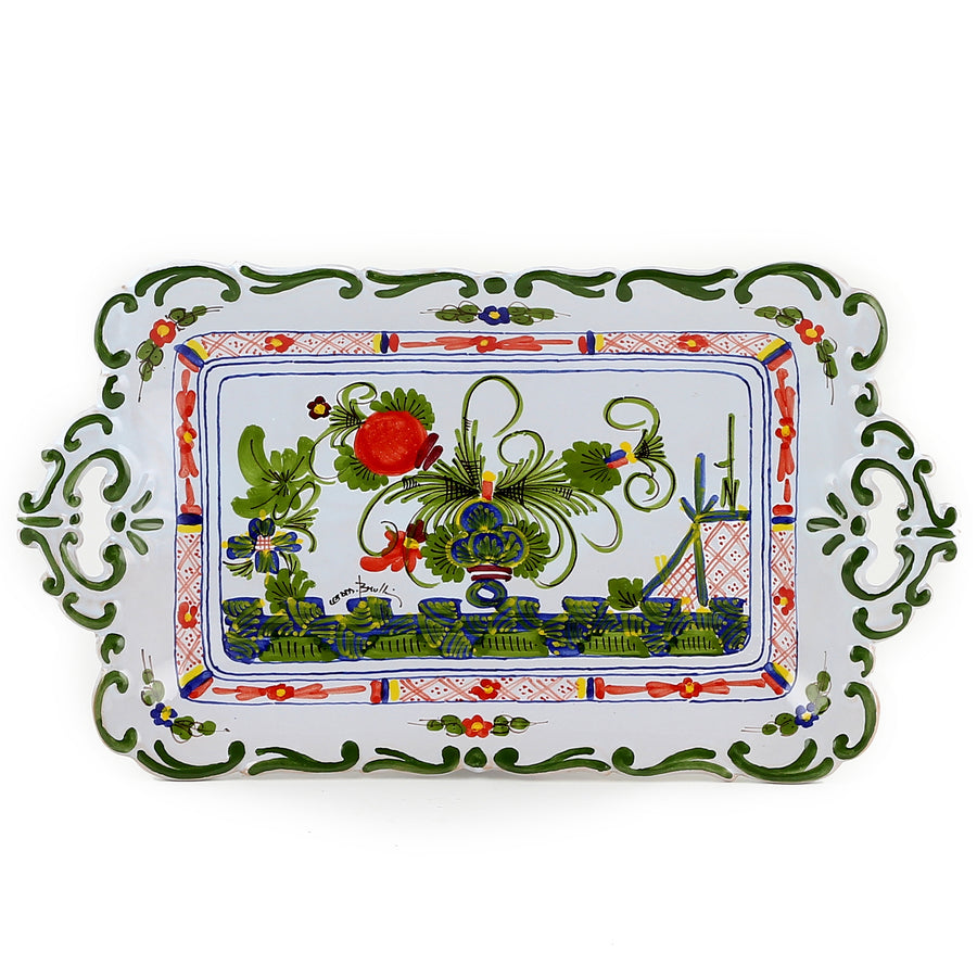 FAENZA-CARNATION: Rectangular tray Baroccato