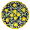 MAJOLICA TOSCANA: Wall Plate with Lemons on blue background (20D.)