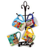 LA MUSA: Set with 4 Jumbo Mugs as shown and wrought iron four arms mug stand tree