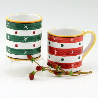 CHRISTMAS: Set of two Mugs 10 OZ RED and GREEN