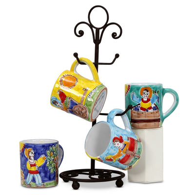 LA MUSA: Set with 4 Jumbo Mugs as shown with wrought iron four arms mug stand tree