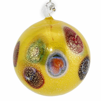 MURANO GLASS: Christmas Ornament Genuine Murrina Millefiori gold leaf YELLOW