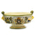 MAJOLICA CAFFAGIOLO: Round footed bowl with scrolled handles and lion heads