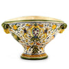 MAJOLICA CAFFAGIOLO: Oblong footed centerpiece w scrolled handles and lion heads