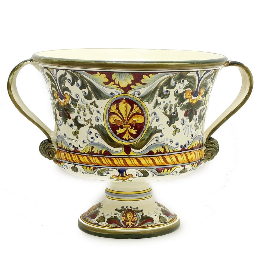 MAJOLICA MEDICI: Extra Large Footed Round Bowl with two handles [R]