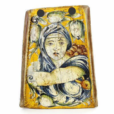 MAJOLICA: Reclaimed Tuscan Roof Tile with Sibilla Delfica (Michelangelo)