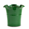 SCAVO GIARDINI-GARDEN: Large Planter Vase with fluted rim  'VERDE PRATO' DARK GREEN