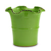 SCAVO GIARDINI-GARDEN: Large Planter Vase with fluted rim  'VERDE BOSCO' LIGHT GREEN