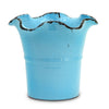SCAVO GIARDINI-GARDEN: Large Planter Vase with fluted rim 'AZZURRO' LIGHT BLUE