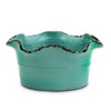 SCAVO GIARDINI-GARDEN: Large Low Ball Planter Vase with fluted rim  AQUA TIFFANY TEAL