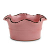 SCAVO GIARDINI-GARDEN: Large Low Ball Planter Vase with fluted rim  PALE ROSE' PINK